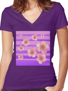 Pink Flowers Purple Stripes for Baby Room Women's Fitted V-Neck T-Shirt