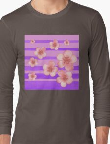 Pink Flowers Purple Stripes for Baby Room Long Sleeve T-Shirt