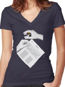 Voltron in the office Women's Fitted V-Neck T-Shirt