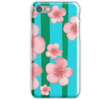 Pink Flowers Green Stripes for Baby Room iPhone Case/Skin