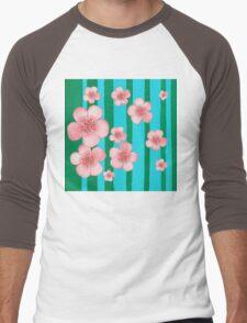Pink Flowers Green Stripes for Baby Room Men's Baseball ¾ T-Shirt