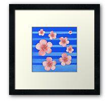 Pink Flowers Blue Stripes for Baby Room Framed Print