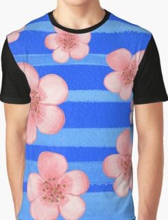 Pink Flowers Blue Stripes for Baby Room Graphic T-Shirt