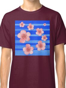 Pink Flowers Blue Stripes for Baby Room Classic T-Shirt