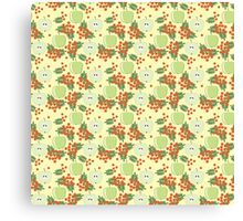 Cute autumn pattern with apples and rowan  Canvas Print
