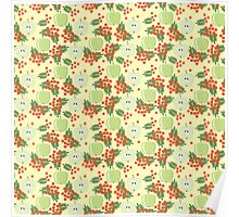 Cute autumn pattern with apples and rowan  Poster