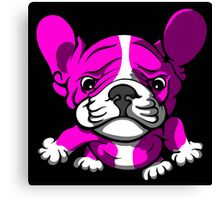 French Bull Terrier Cartoon Pink  Canvas Print