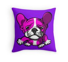 French Bull Terrier Cartoon Pink  Throw Pillow