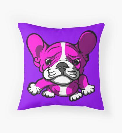 French Bull Terrier Cartoon Pink  Throw Pillow