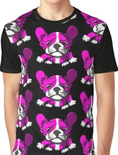 French Bull Terrier Cartoon Pink  Graphic T-Shirt