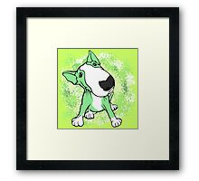 Green English Bull Terrier Swirl Framed Print