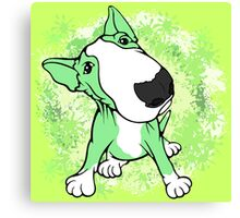 Green English Bull Terrier Swirl Canvas Print