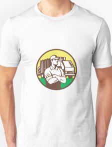 Garbage Collector Rubbish Truck Circle Retro Unisex T-Shirt