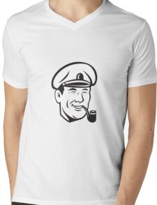 Sea Captain Smiling Smoke Pipe Retro Mens V-Neck T-Shirt