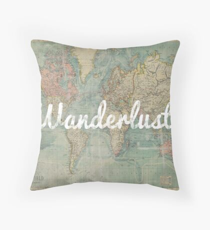 wanderlust on vintage map Throw Pillow
