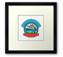 Sea Trout Hunter Shooting Circle Retro Framed Print