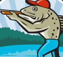 Sea Trout Hunter Shooting Circle Retro Sticker