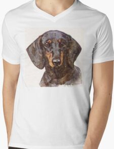 Dachshund Portrait Mens V-Neck T-Shirt