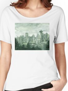 Seattle Skyline Space Needle Watercolor Painting Women's Relaxed Fit T-Shirt