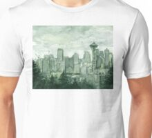 Seattle Skyline Space Needle Watercolor Painting Unisex T-Shirt