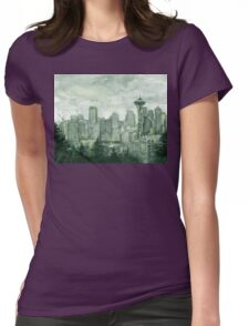Seattle Skyline Space Needle Watercolor Painting Womens Fitted T-Shirt