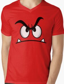 ANGRY FACE Mens V-Neck T-Shirt