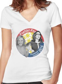 Poehler-Fey 2016 Women's Fitted V-Neck T-Shirt
