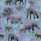 Sweet Elephants in Purple and Grey by micklyn