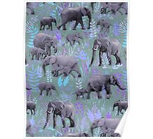 Sweet Elephants in Purple and Grey Poster