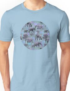 Sweet Elephants in Purple and Grey Unisex T-Shirt