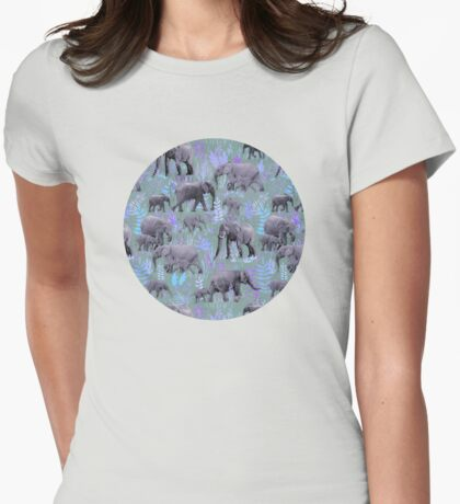Sweet Elephants in Purple and Grey Womens Fitted T-Shirt
