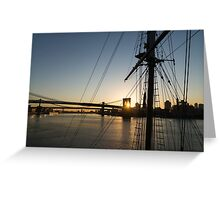 Tall Ship and Brooklyn Bridge - Iconic New York City Sunrise Greeting Card
