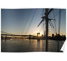 Tall Ship and Brooklyn Bridge - Iconic New York City Sunrise Poster
