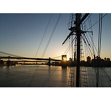 Tall Ship and Brooklyn Bridge - Iconic New York City Sunrise Photographic Print