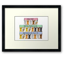 Cartoon cats celebrating July 7th Birthday. Framed Print
