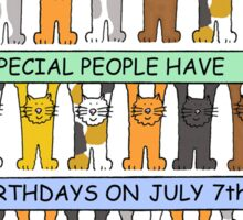 Cartoon cats celebrating July 7th Birthday. Sticker