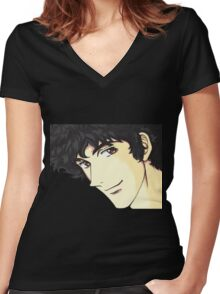 Spike Spiegel from the Anime/Manga Cowboy Bebop Original Digital Painting (face only) Women's Fitted V-Neck T-Shirt