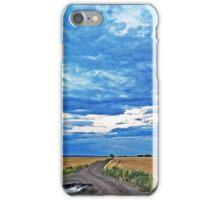 Rural road in a wheat field under a stormy sky iPhone Case/Skin