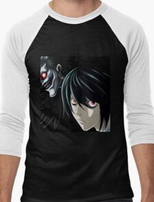 Ryuk and L from the Anime/Manga TV show Death Note: Original Digital Painting Men's Baseball ¾ T-Shirt