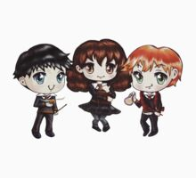 Cute Harry Ron and Hermione wearing Gryffindor Uniforms, Hand-Drawn Manga/Anime Chibi Style Kids Tee