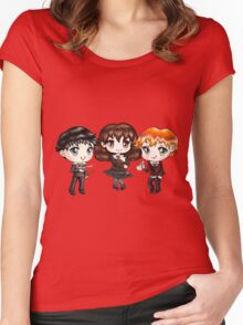 Cute Harry Ron and Hermione wearing Gryffindor Uniforms, Hand-Drawn Manga/Anime Chibi Style Women's Fitted Scoop T-Shirt