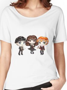 Cute Harry Ron and Hermione wearing Gryffindor Uniforms, Hand-Drawn Manga/Anime Chibi Style Women's Relaxed Fit T-Shirt