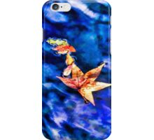 Autumn leaves floating on dark blue water of Blue Spring State Park in Florida iPhone Case/Skin
