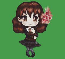 Cute Hermione Granger in Gryffindor Uniform Casting a Love Spell (Hand-Drawn Illustration) Kids Tee