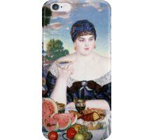 Boris Kustodiev - Merchant s Wife at Tea 1918 Woman Portrait  iPhone Case/Skin