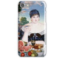 Boris Kustodiev - Merchant s Wife at Tea 1918 Woman Portrait  iPhone Case/Skin