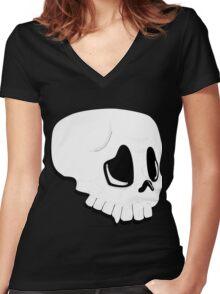 Skull Women's Fitted V-Neck T-Shirt