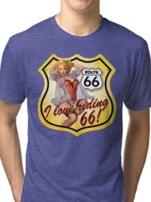 route 66 : i love Riding Tri-blend T-Shirt