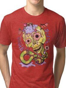 Sweet Death Skull - Cherries, Ice Cream and Donuts Tri-blend T-Shirt
