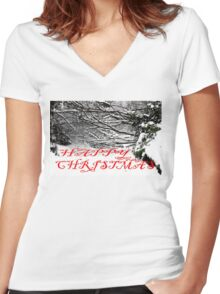HAPPY CHRISTMAS 4 Women's Fitted V-Neck T-Shirt